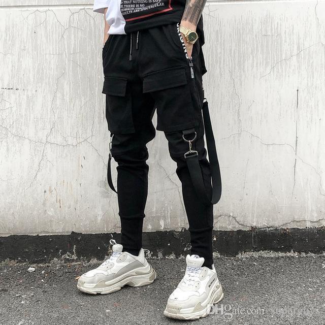 Sıcak Yan Erkek Hip Hop Patchwork Kargo Sweatpants Koşucular Pantolon Erkek Moda Tam Boy Pantolon XK11 Ripped Kalem Pantolon Pockets