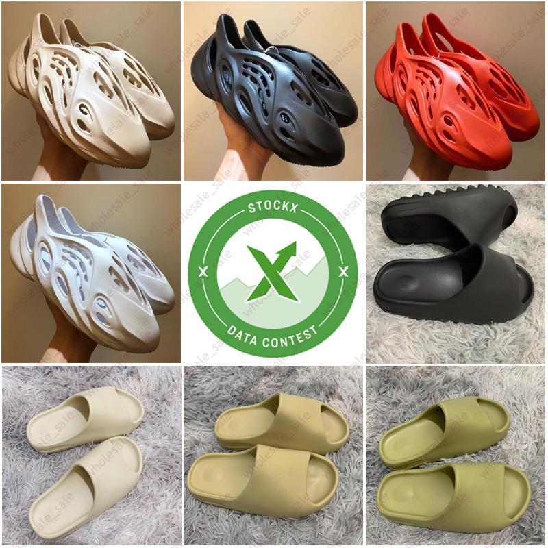 Adidas yeezy slides Kanye West sandalia triples negros blancos sandalias de playa zapatilla de la moda de las mujeres para hombre recipientes diseñador de zapatos sin cordones