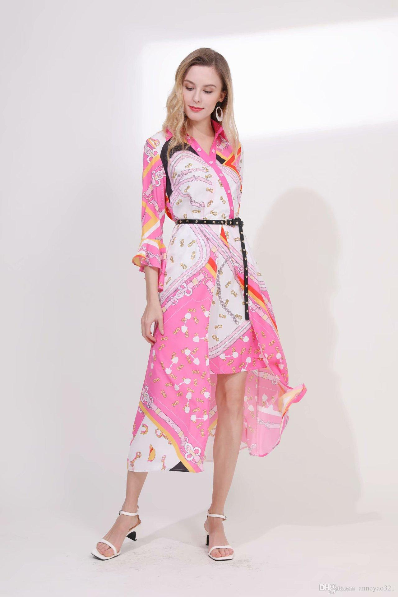 2019 Spring Summer Lapel Neck 3/4 Sleeve Print Asymmetrical Milan Runway Dress Designer Dress Brand Same Style Dress 011203