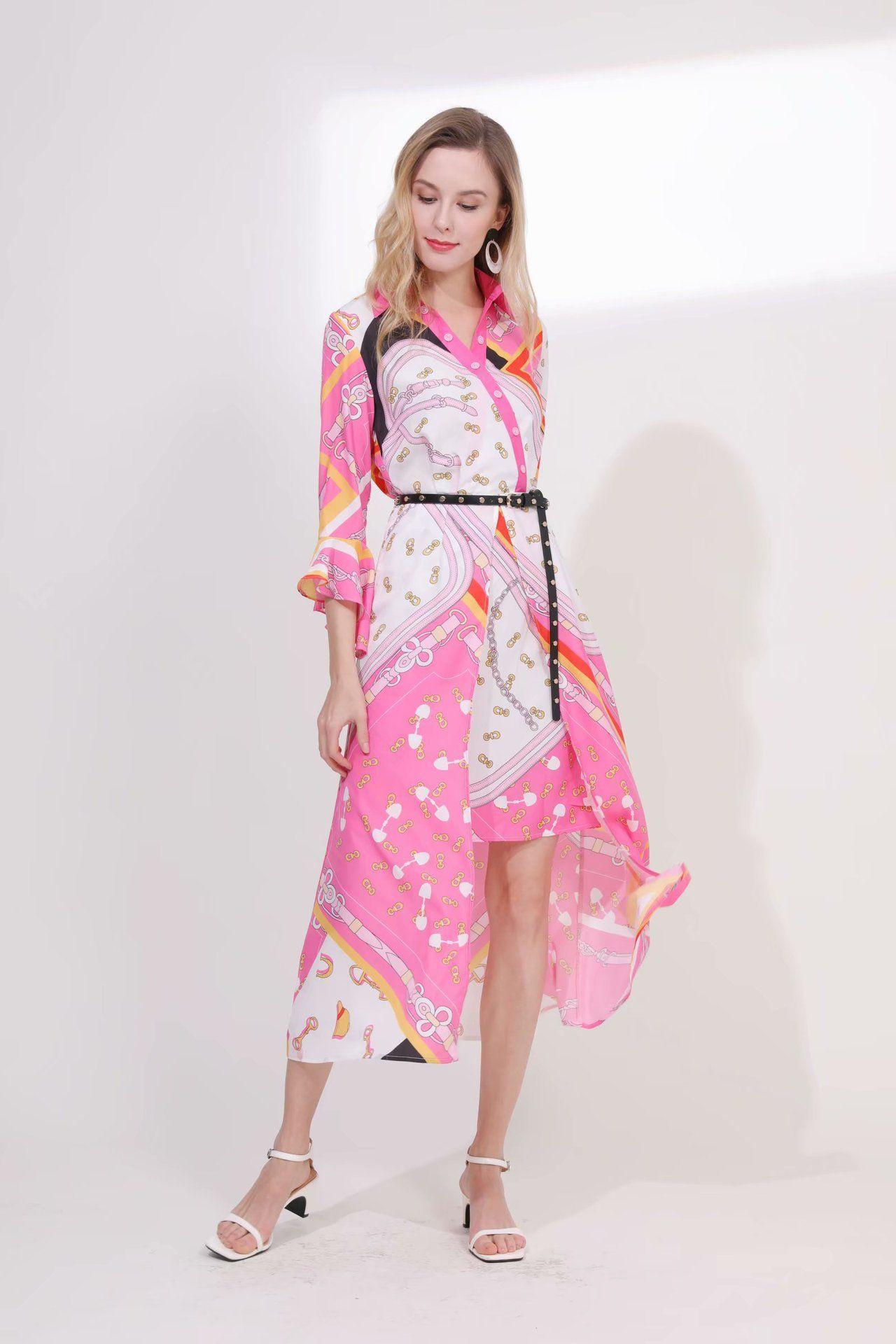 2019 Frühling Sommer Revers Hals 3/4 Ärmel Print Asymmetrische Mailand Runway Kleid Designer Kleid Marke Gleichen Stil Kleid 011203
