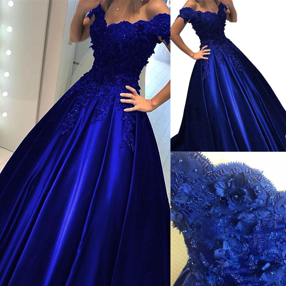 New Royal Blue Ball Plan Comprosh Creep Prom Dress с плеча Кружева 3D Цветы с бисером Corset Back Back Back Вечернее вечерние платья Платья