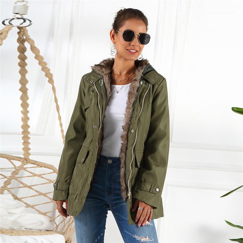 Feste Trench Coats Fashion Liner Abnehmbare warme Winterjacke der beiläufigen Frauen Langarm-Mäntel der Frauen Designer