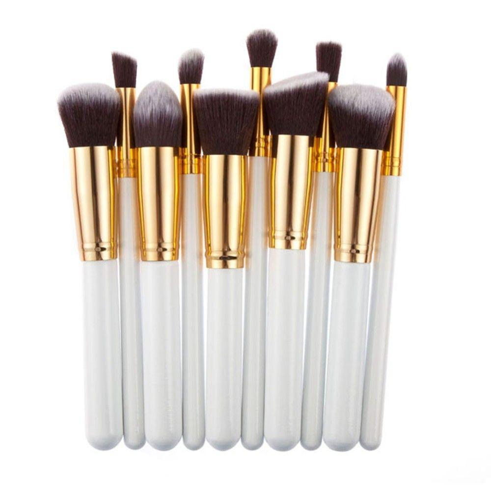 10 Unids Mini Plata Oro Maquillaje Cepillos Set pincel maquiagem Cosméticos Blush Foundation Powder Maquillaje Herramientas de Pincel Pelo Sintético