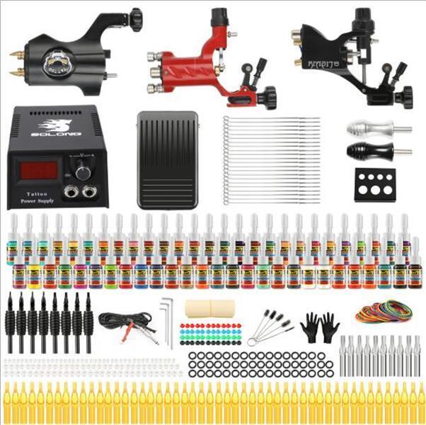 핫 공장 전체 문신 키트 3 프로 로타리 기계 총 54 잉크 전원 공급 니들 그립 TK355