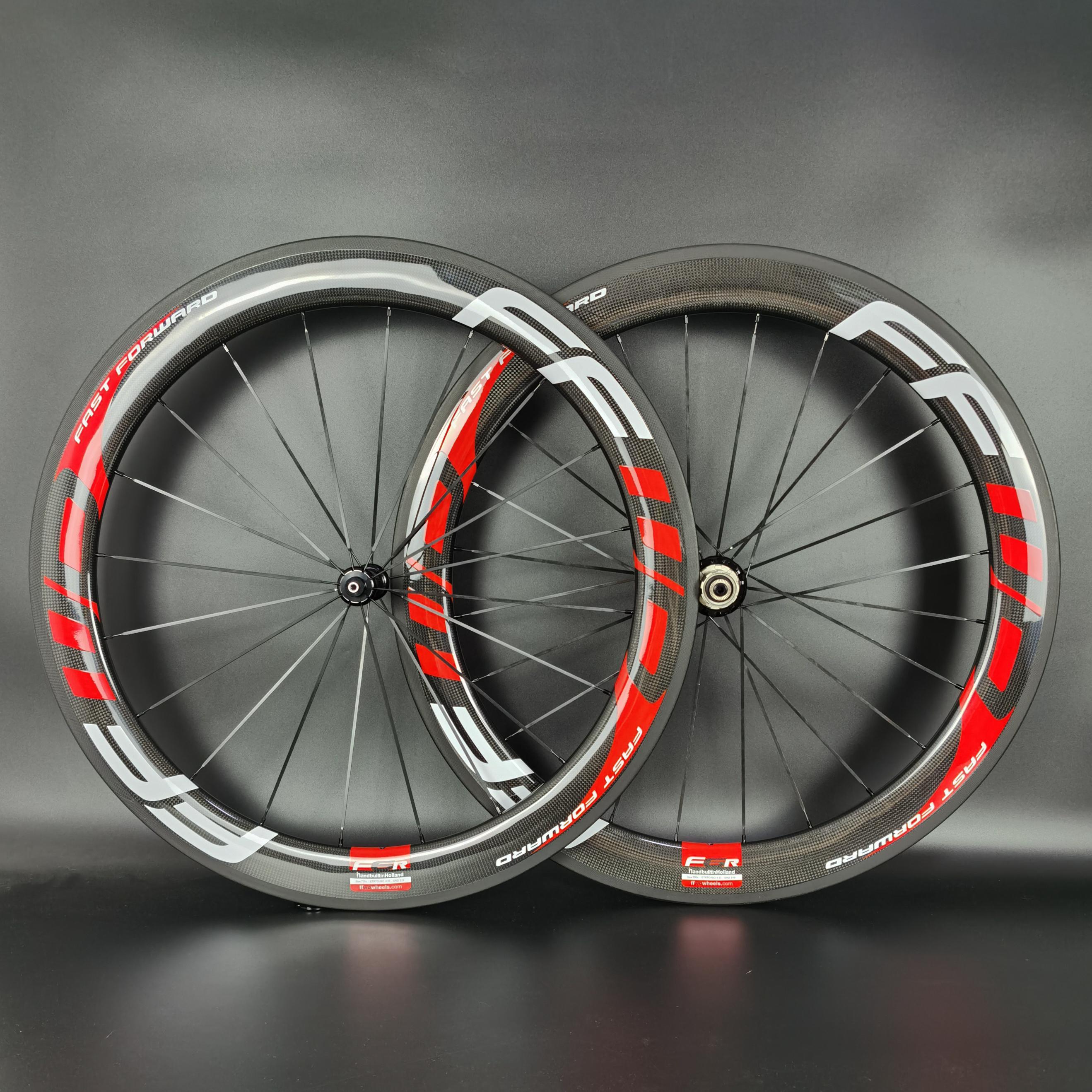 FFWD 700C Road Bike Light Wheels de Carbono 60mm Profundidade de 25mm Largura Calçadeira / Tubeless / Bicicleta Tubular Wheelset com acabamento brilhante 3K