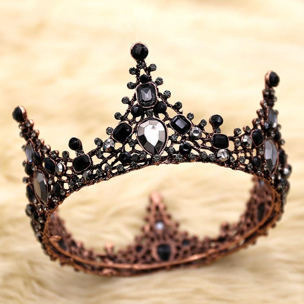 Black Crystal Rhinestone Full Birthday Crown for Women Bridal Headpiece Wedding Hair Jewellery Cake Toppers