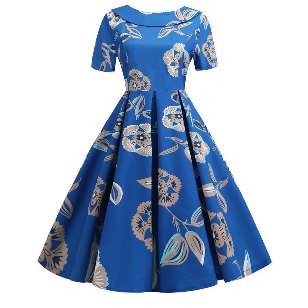 # JY14046 Kwaii синий цветочный Printed O-образным вырезом с коротким рукавом боковой молнии Женская одежда причинная ретро маятник платья свободная перевозка груза