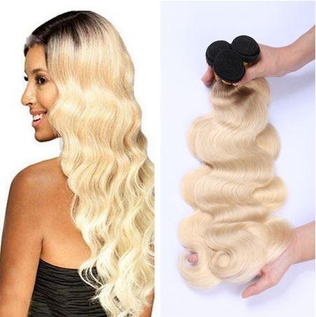 Ombre Color Platinum Blonde Hair 100% unverarbeitete russische 613 blonde Körperwelle Haarverlängerungen 12-30inch 3 Bundles Deal