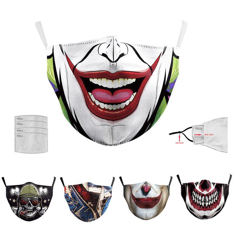10 unids Halloween Halloween Digital Mask 2 capas adultas Masquerade Partido Joker Mascarillas Cara Reutilizable Anti-Fog Cosplay Mascherine