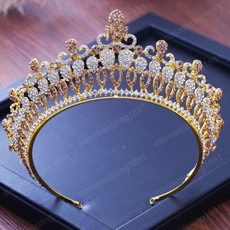 Wedding Tiaras for Bride Vintage Golden Metal Tiaras Crystal Rhinestone Big Crown Headpieces Women Hair jewelry