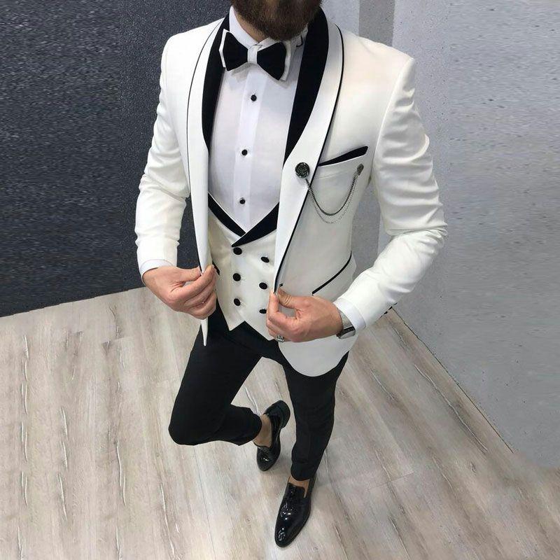 Белый смокинг жених Мужских костюмов для венчания черной шали лацкане Groomsmen Outfit Человек Blazer 3шт Trajes де HOMBRE Terno костюма Homme Мужчина для