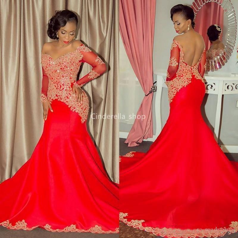 Sexy Red sereia Vestidos 2019 mangas compridas ouro apliques de lantejoulas partido Prom Africano Vestidos Robes Abendkleider