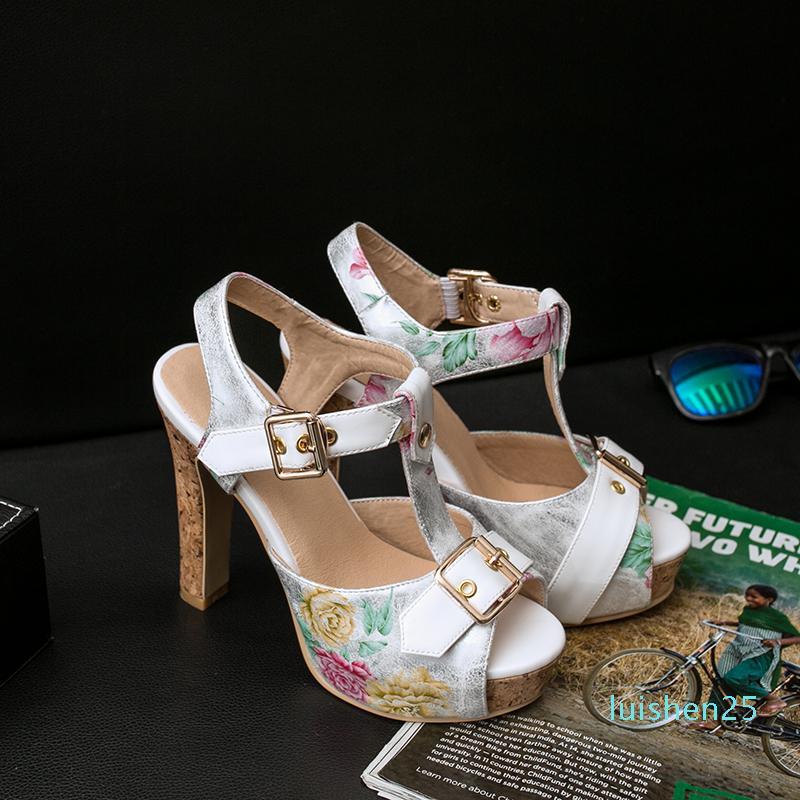 Clásico de Verano 2020 sandalias de la señora diseñador de zapatos Peep Toe sandalias metal atractivo piel hebilla de zapatos de mujer de tacón alto 11.5cm Tamaño grande AL25