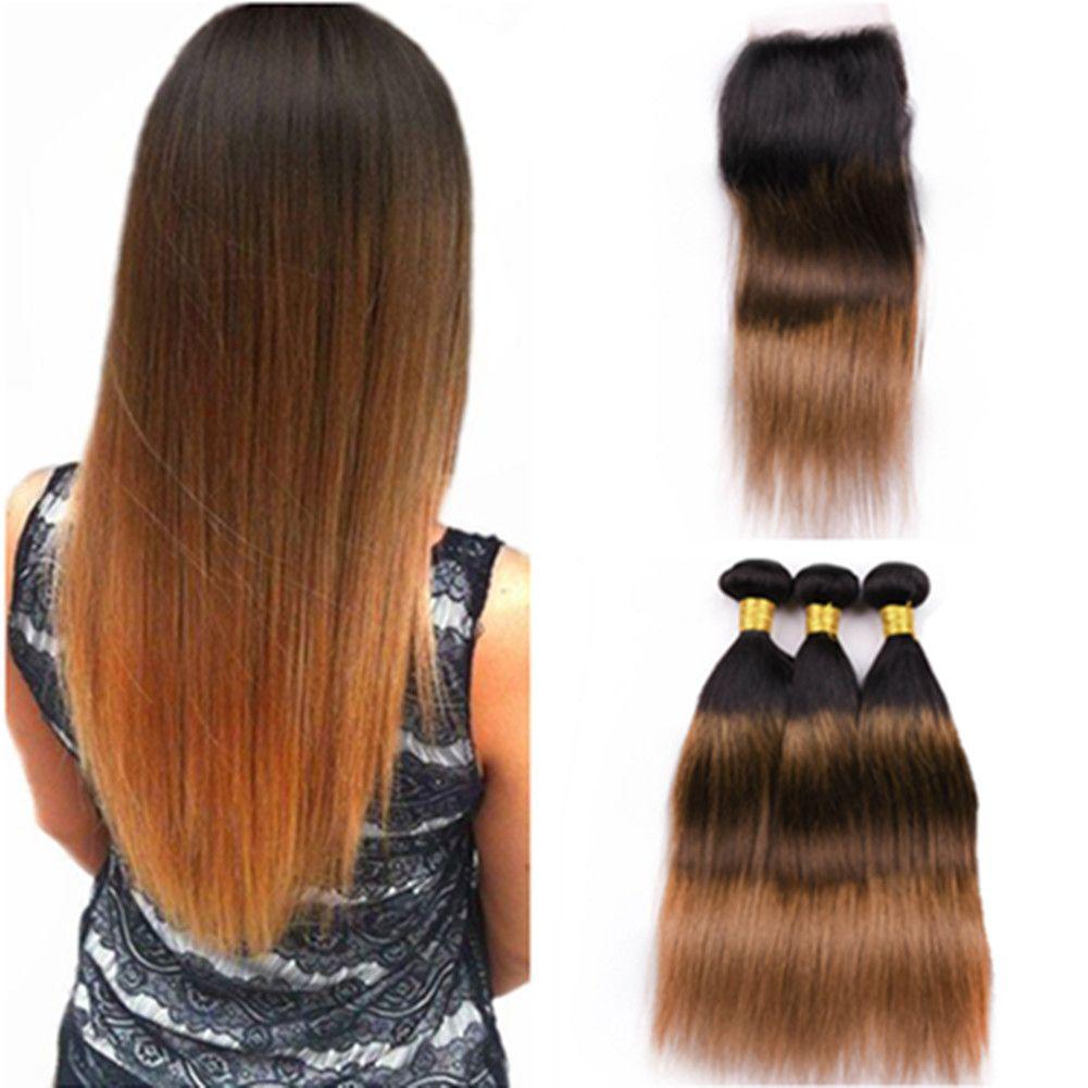 # 1B / 4/30 Dark Auburn Ombre الماليزية الشعر 3 حزم مع إغلاق 4x4 الرباط الأسود البني إلى لحمة شعر الإنسان مستقيم أوبورن مع إغلاق