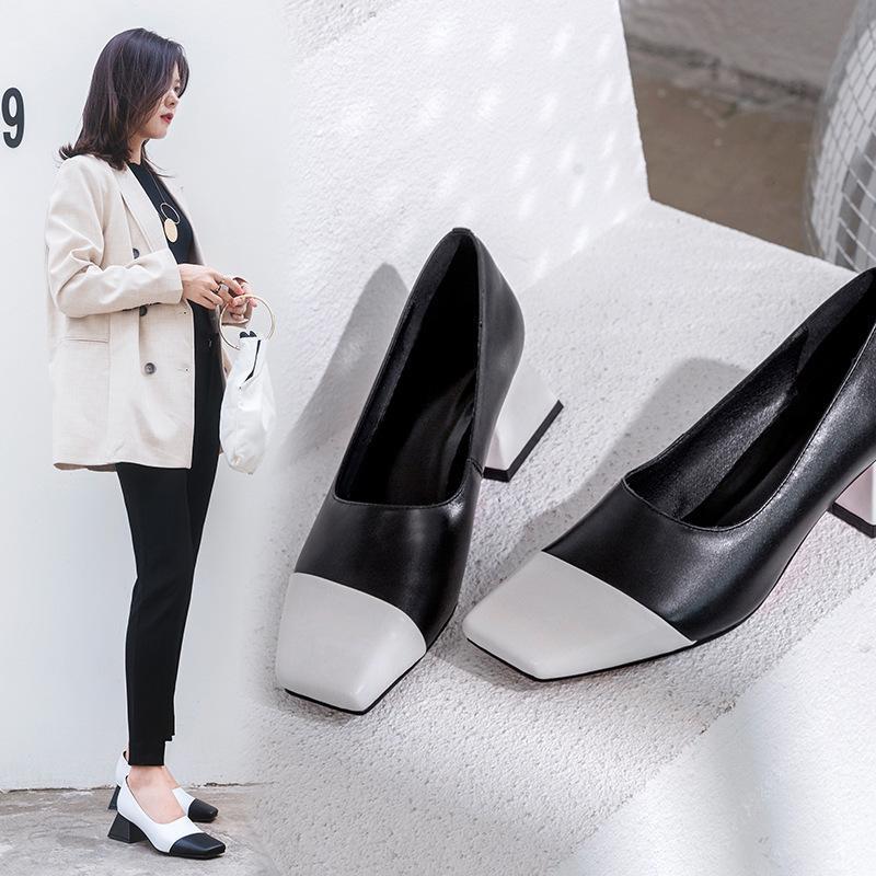 Pop2019 orthographe avec couleur unique en cuir véritable chaussure femme Grace Post Market chaussures de tempérament confortable spécial compteur