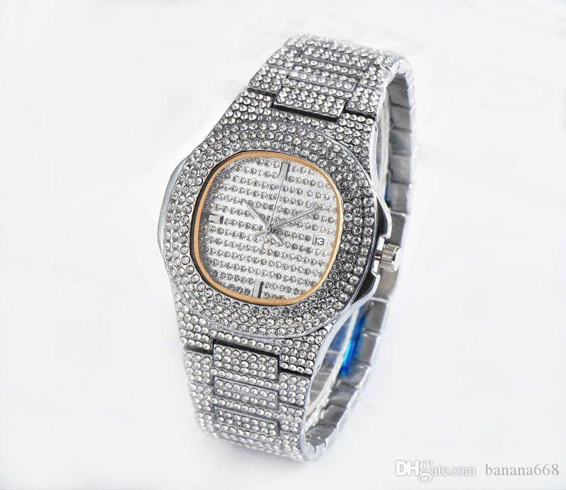 Wholesale u1 factory Mens Women Fashion Watch Bling Full Diamond Iced Out Watches Luxury Designer Quartz Movement Party Wristwatches Royal