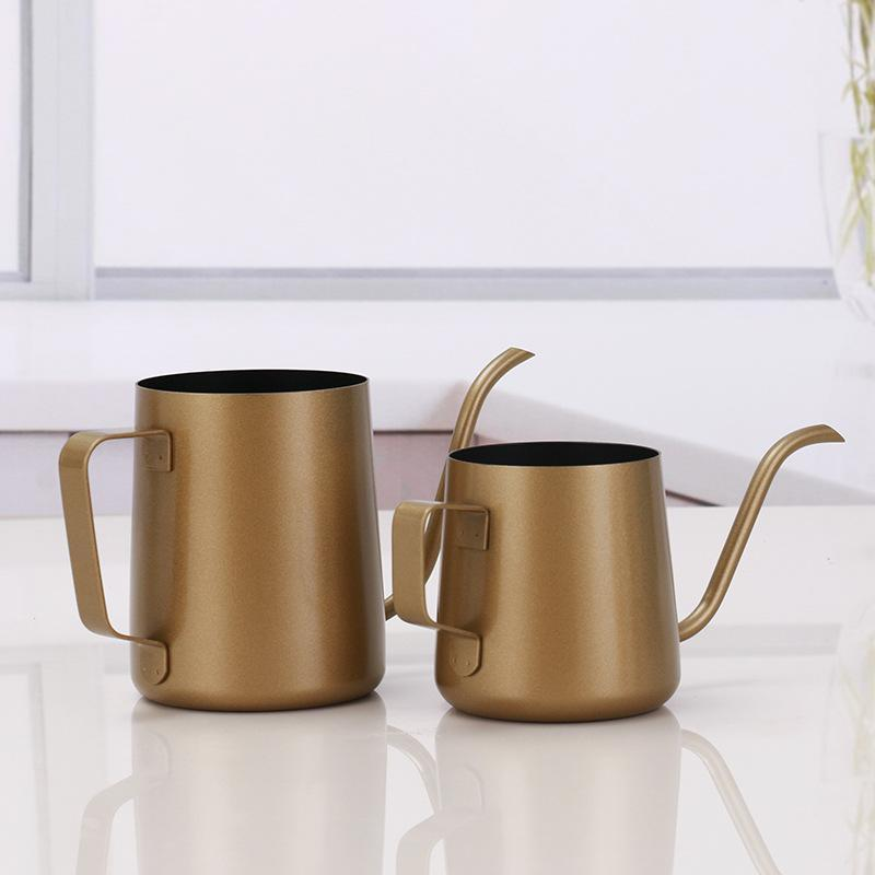 250ml 350ml Casse à café en acier inoxydable col de cyveneck Verser sur une cafetière suspendue oreille goutte à oreille goutte à café longue bec pot plat bouilloire Outils DHB919