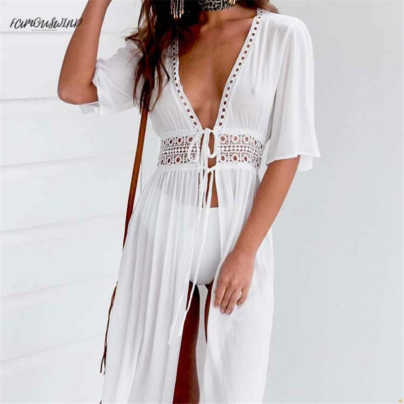 여성 섹시한 여성 셔츠 드레스 비키니 커버 Xxxl 비치 화이트 드레스 수영복 비치웨어 수영복 여름 드레스 디자이너 옷