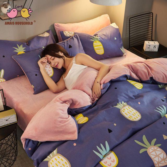 Colorful Pineapple Decoration Blue Color Bedding Set Luxury Skin Friendly Flannel Cotton Autumn Winter Use Duvet covers Bed Sheet Pillow Set