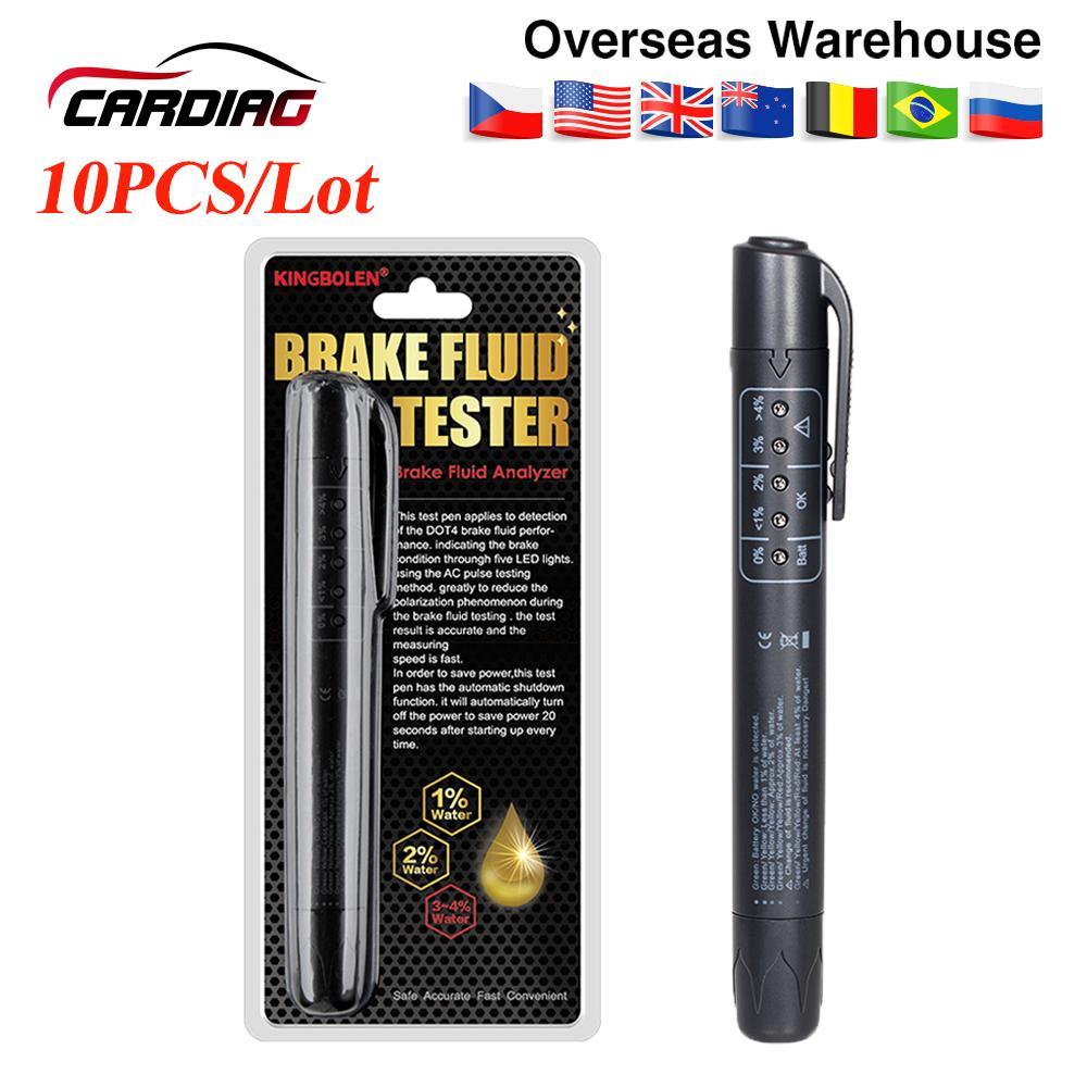 10PCS / Lot Bremsflüssigkeitstester Pen 5 LED Ölqualität prüfen Pen-Diagnosewerkzeug für DOT3 / DOT4 / DOT5 Bremsflüssigkeit-flüssige Prüfvorrichtung