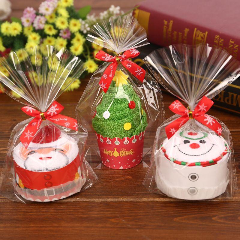 Presente de natal feliz queque toalha de algodão natal natal ano novo decoração decorações de natal para casa crianças crianças 30x30 cm