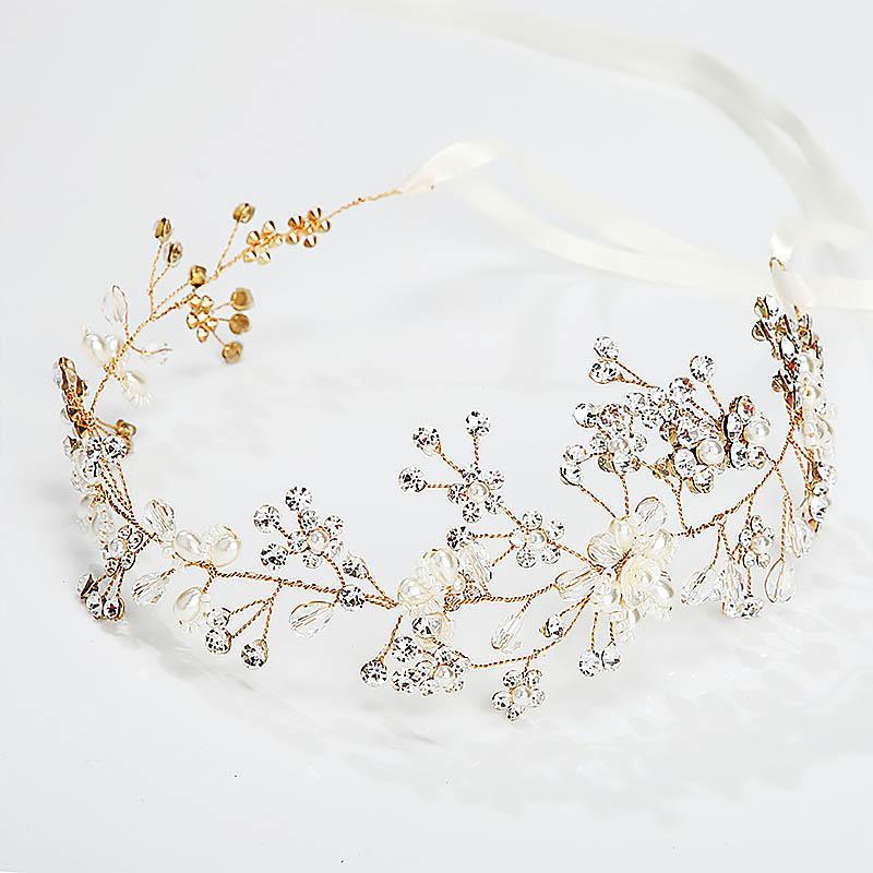 Goldene Draht Handmade Floral Braut Haarbänder Tiaras Strass Kristall Perlen Stirnbänder Hochzeit Braut Haarschmuck Zubehör JL