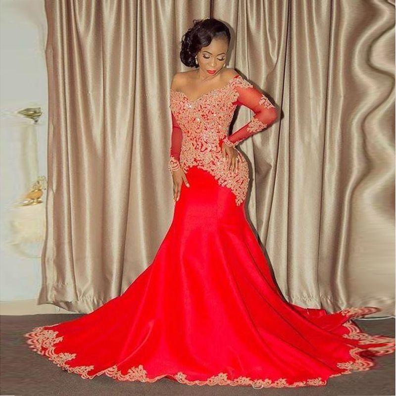 Vintage Afroamerikaner Schwarze Mädchen Abendkleid Mermaid Red Applique Perlen Lange Abendkleider Abschlussballkleider BA8551
