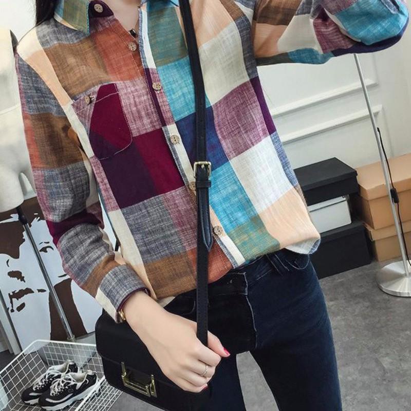 ROPALIA Frauen muticolors Plaid Bluse und Hemd Damen weibliche beiläufige Baumwolle Langarm-kariertes Hemd Frühlings-Herbst-Frauenoberteile hc