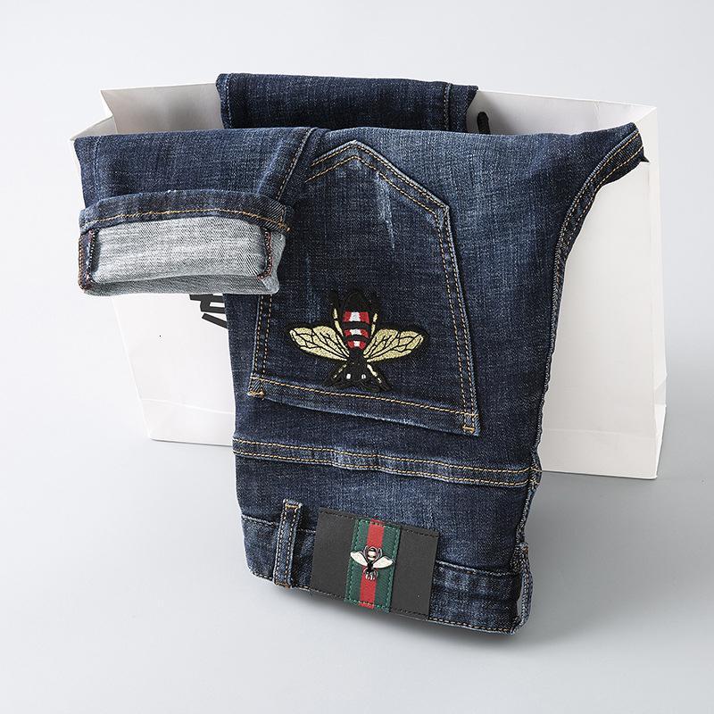 Usar Design original de calças dos homens dos homens elegantes e bordado Calças abelha pequena Jeans