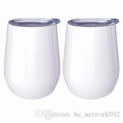 DIY sublimation tumbler 12oz wine tumbler egg shaped double walled stainless steel for sublimaton customize with lid