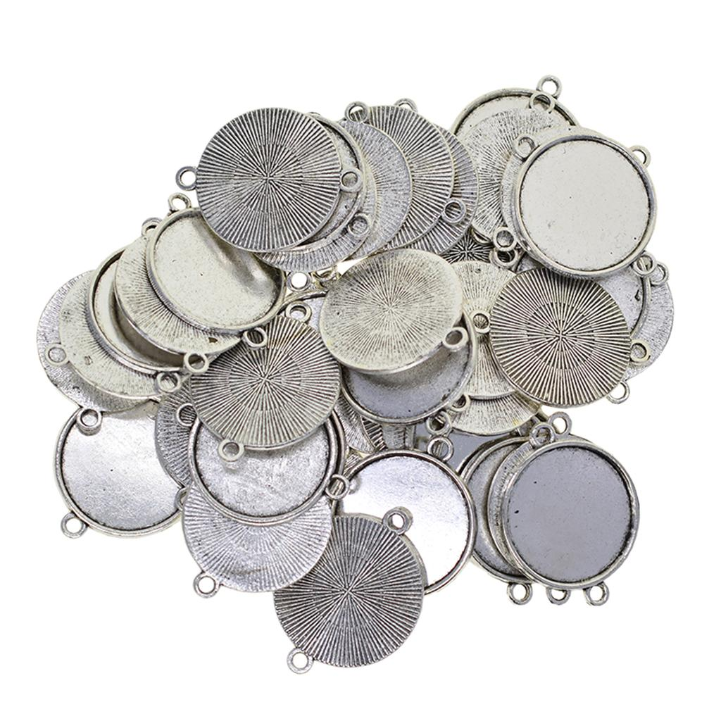 50Pcs Necklace Pendant Setting Cabochon Cameo Base Tray Bezel Blanks Fit 25 mm Cabochons Jewelry Making Findings, Tibetan Silver