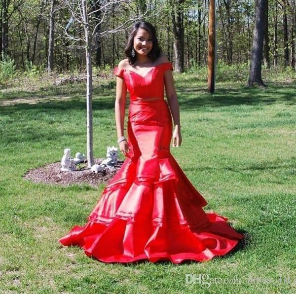Sexy Red Mermaid Two Piece Prom Dresses 2019 New Style Off The Shoulder Fishtail Girls Long Dresses Evening Wear