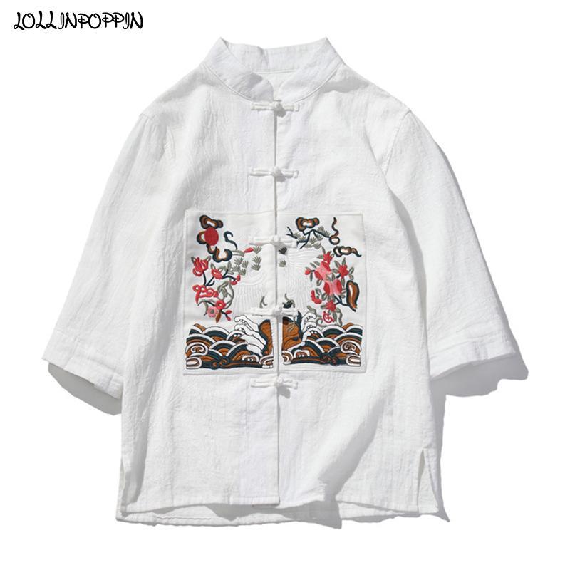 Patrón de estilo chino tradicional bordado parcheado para hombre de la camisa blanca mangas de tres cuartos de los hombres camisas ocasionales cuello mao
