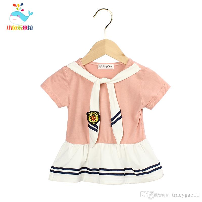 Fashion Summer Korean girls sailor suit dress Brand new summer child college wind girls dress Baby clothing
