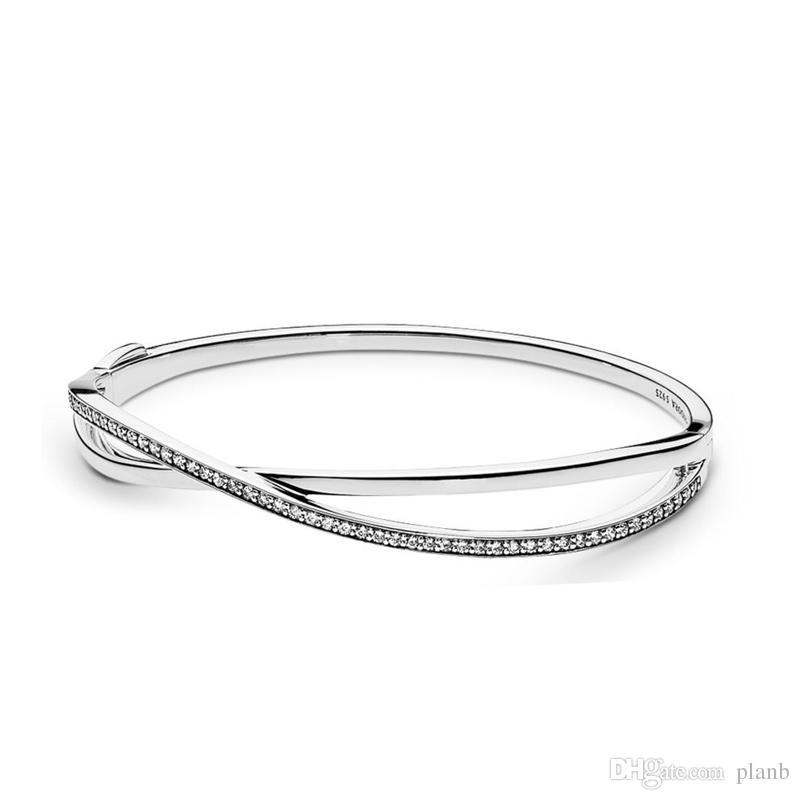 New arrival 925 Sterling Silver Entwined Bangle Bracelet Original Box for Pandora CZ Diamond Women Wedding Gift Jewelry Bracelet Set