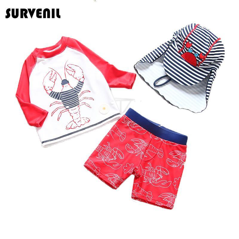 Swimsuit das crianças para meninos 2019 verão crianças swimwear dos desenhos animados lagosta maiô vermelho menino de manga comprida rashguard praia maiô