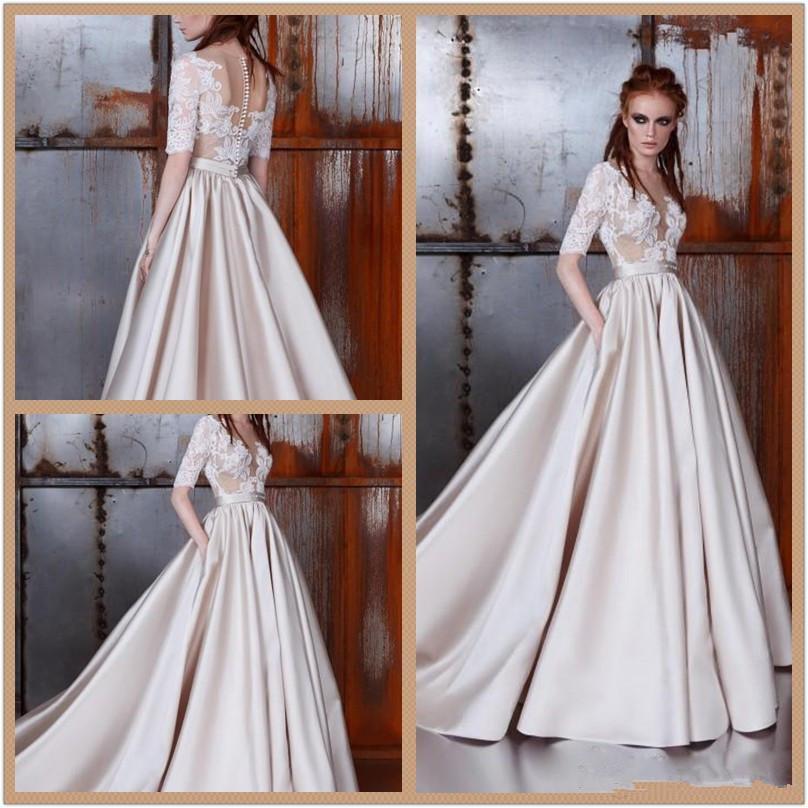 Discount 2020 New Zuhair Murad Wedding Dresses Sheer Neck Half