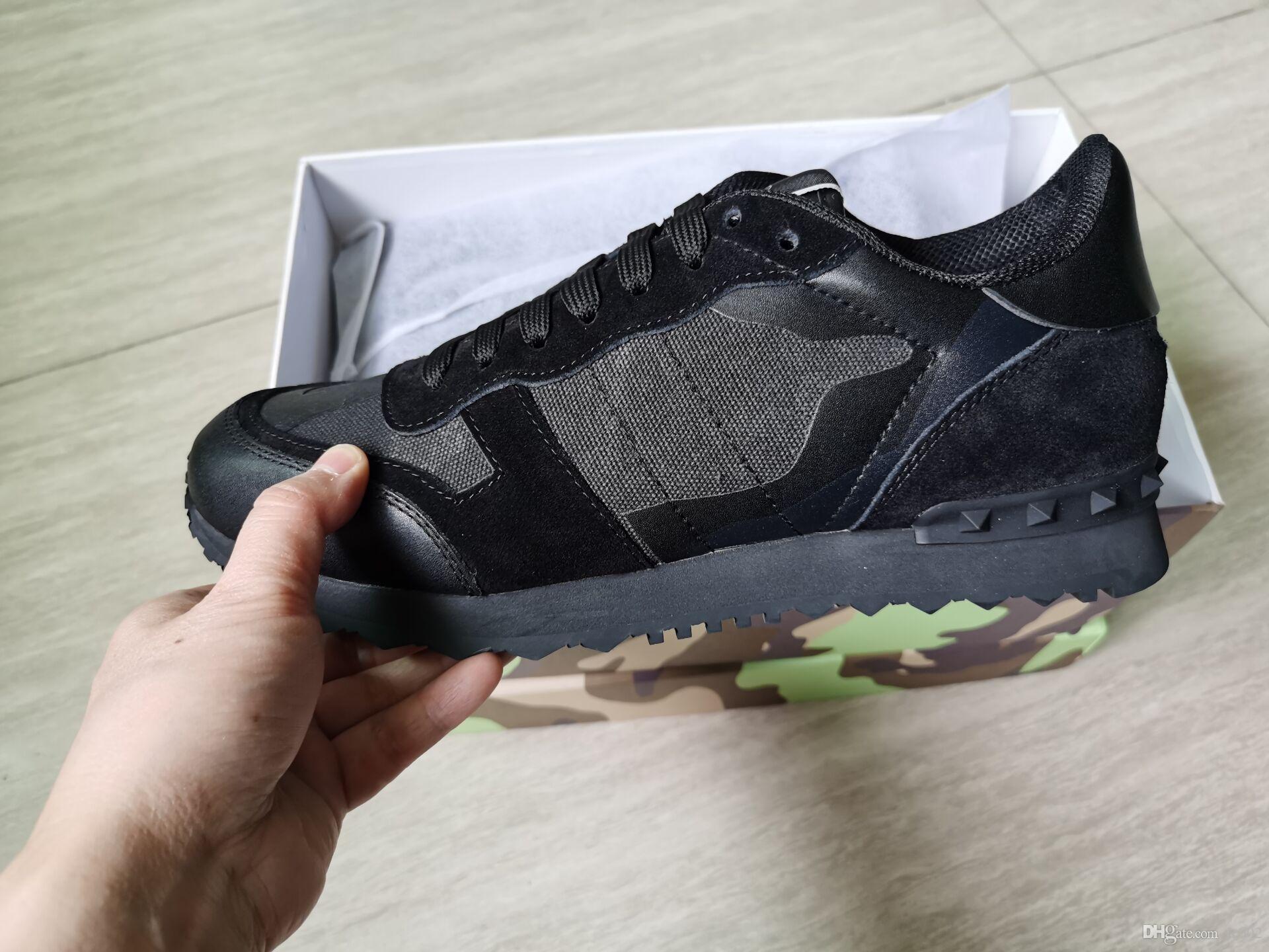 De calidad superior para mujer para hombre de cuero real de la estrella del rock Runner Zapatos del camuflaje zapatillas de deporte con tachuelas Rockrunner Formadores recorrer ocasional de las zapatillas de deporte