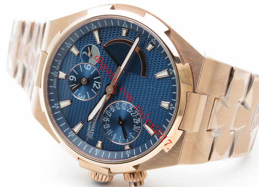 Mens TWA usine Luxe Top Overseas Dual Time Power Quality Reserve WATCH plaqué Asie 23J automatique cadran bleu Montres or rose 18 carats