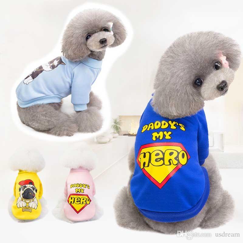 아빠 내 영웅 개 코트 두 다리 개 T 셔츠 강아지 코트 개 의류 애완 동물 용품 가을 옷 수송선 블루 핑크 360066