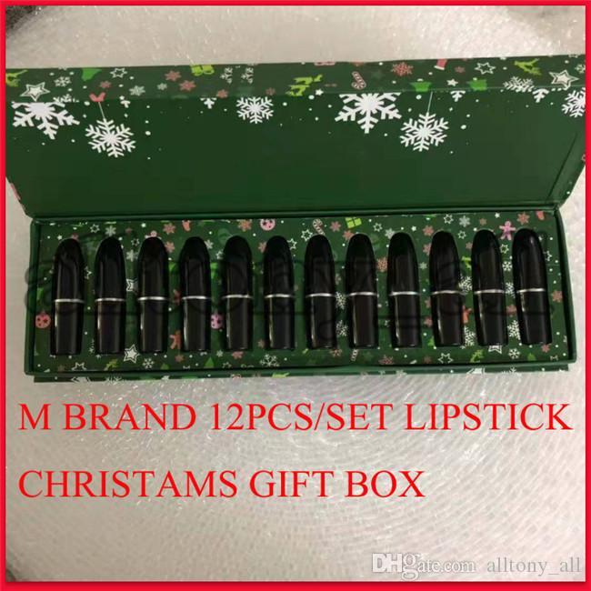 Collection de maquillage de marque M célèbre M Collection à lèvres de Noël Lipstick Set Matte Lipstick 12 couleurs Snow Lipkit 12pcs / Set