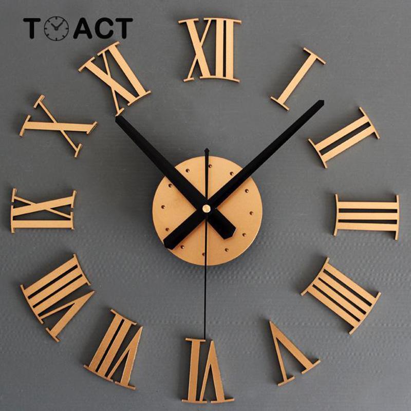 Horloge murale de grande taille mur Horloges Design moderne Sticker 3D DIY Big Montre luxe Living Room Home Decor Roman Nouveau Y200110 Numerals