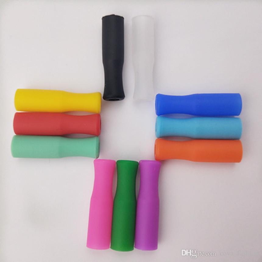 القش نصائح للسيليكون 6MM الفولاذ المقاوم للصدأ القش الأسنان اصطدام الوقاية من القش غطاء سيليكون أنابيب 11 الألوان المتاحة