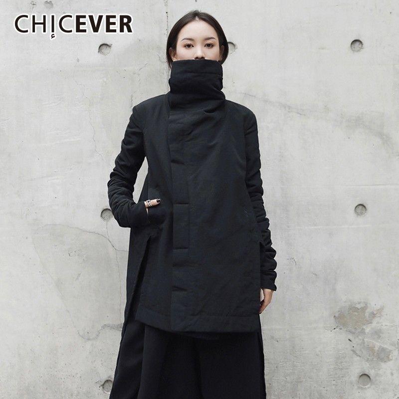 CHICEVER Cappotto invernale da donna Park Giacche femminili Dolcevita Manica lunga Orlo asimmetrico Giacca nera Abbigliamento moda Marea Y190830