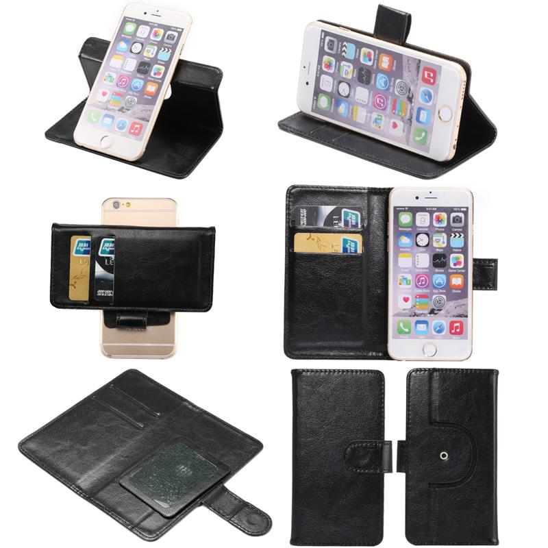 Universal 360 Rotating Phone Wallet PU Flip Leather Case For 3.8 4.3 5.0 5.5 6.3 inch iPhone Samsung LG HTC Nokia Sony Huawei XiaoMi Alcatel