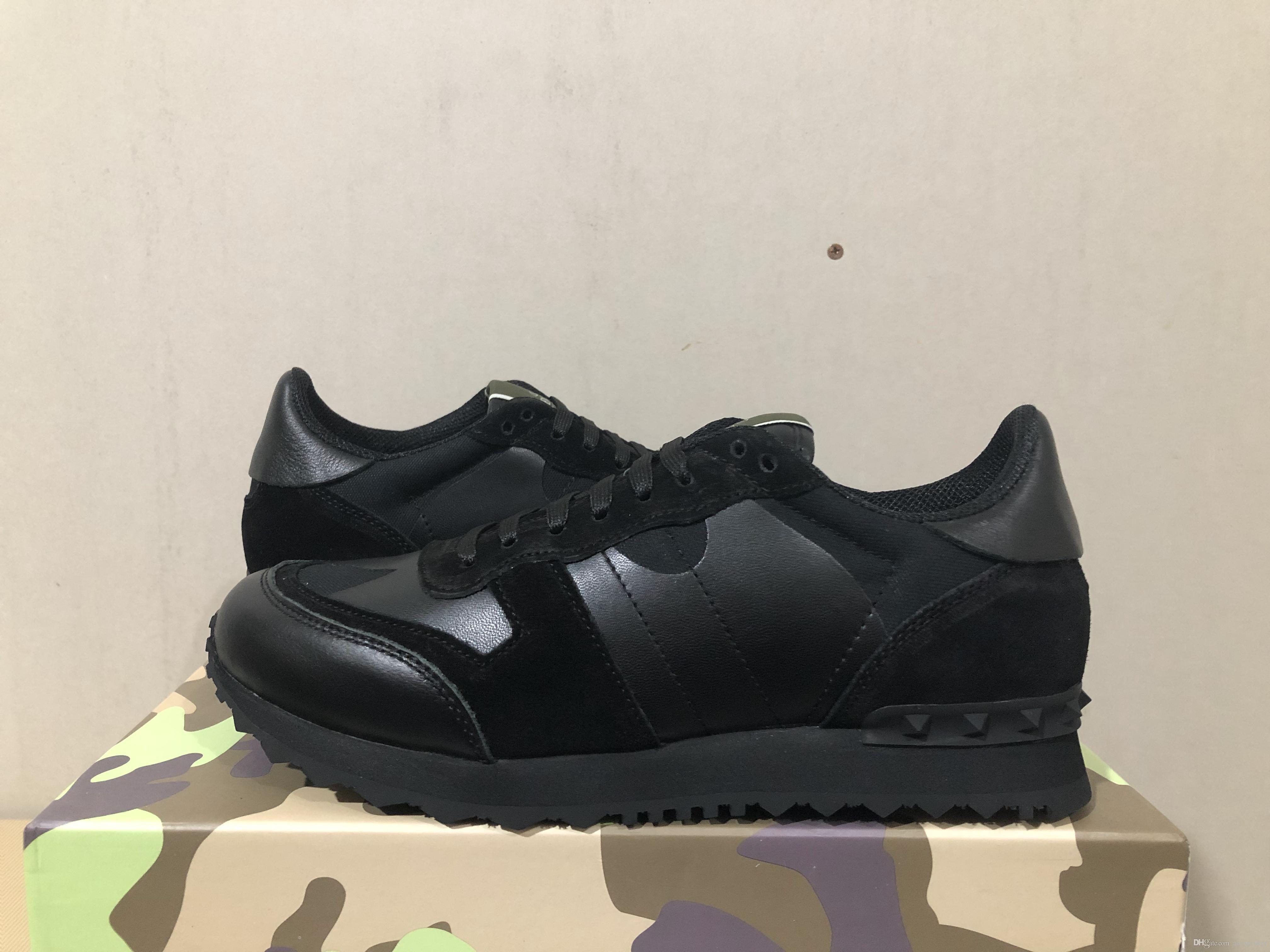 Nuevos zapatos de moda del perno prisionero del camuflaje de las zapatillas de deporte Calzado planos de los hombres Entrenadores de lujo de diseño de los zapatos ocasionales arrivied con la caja original