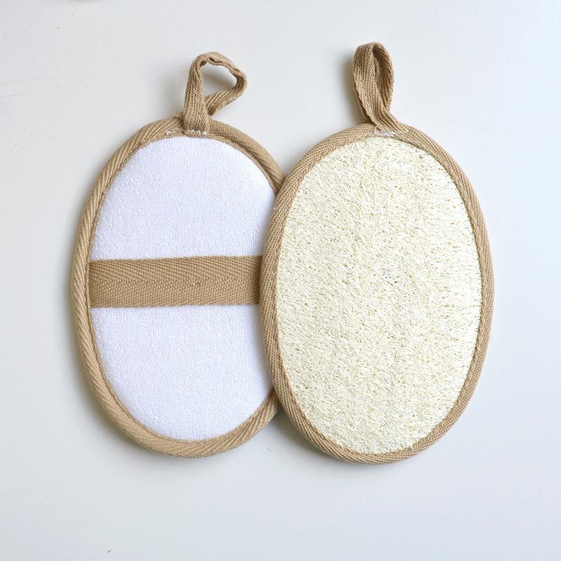 Natural lufa Pad con tela de toalla de ducha exfoliante Volver Esponja Retire la piel muerta 11x16cm
