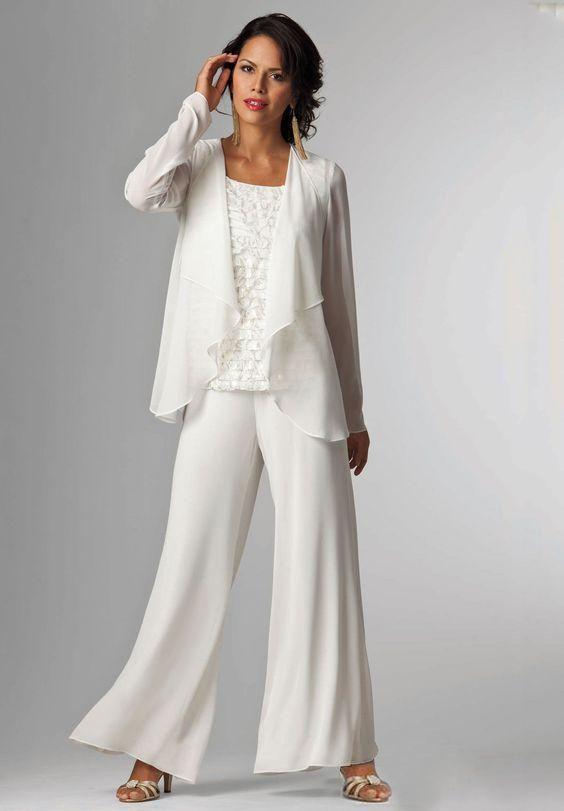 Abiti Da Sposa Tailleur.Acquista Tailleur Pantaloni In Chiffon Bianco Avorio Lady Mother
