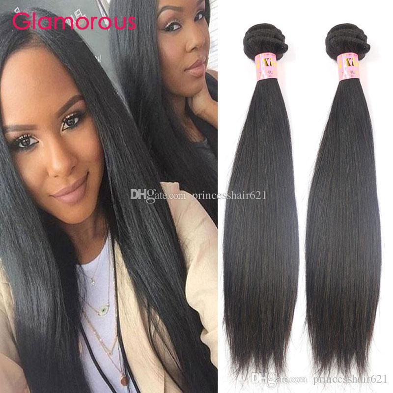 Glamorous 100% Virgin Human Hair Weaves 2Pcs/Lot Natural Color Brazilian Hair Weave Bundles Wholesale Straight Human Hair for black women