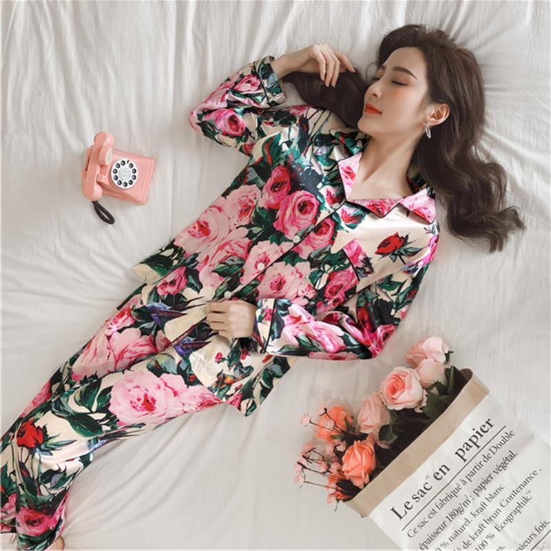 Juli's Lied Frauen Pyjamas Kunst Seide Sleepwear Satin Pyjamas Set Blume Print Lange Ärmel 2 Stück Herbst Winter Homewear